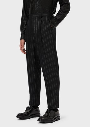 Emporio Armani Pinstriped Wool Blend Trousers With Darts