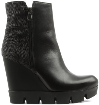 Black Leather Contrast Cleated Wedge Ankle Boot