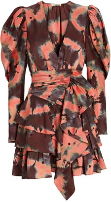Ulla Johnson Semira Tie-Dye Puff Sleeve Mini Dress