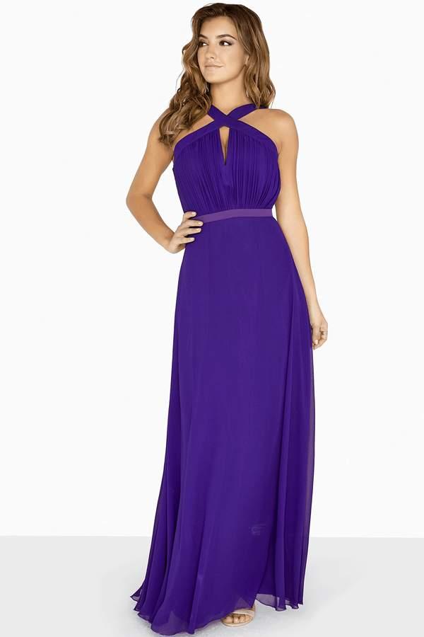 Little Mistress Frankie Purple Keyhole Maxi Dress