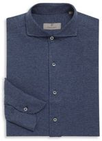Canali Houndstooth Cotton Long Sleeve Shirt