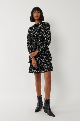 Warehouse Micro Pleat Spot Tired Dress