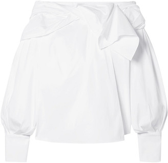 Carolina Herrera Lace-trimmed Ruffled Cotton-blend Poplin Blouse