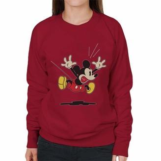 Disney Mickey Mouse Alarmed Jump Women's Sweatshirt Cherry Red
