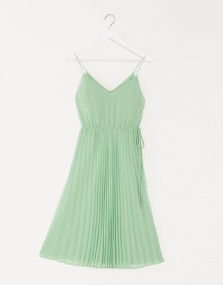 ASOS DESIGN pleated cami midi dress with drawstring waist in sage green