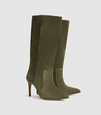 Reiss Lily - Suede Point Toe Boots in Khaki Green