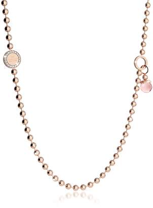 Rebecca Boulevard Stone Rose Gold Over Bronze Necklace w/Double Charms