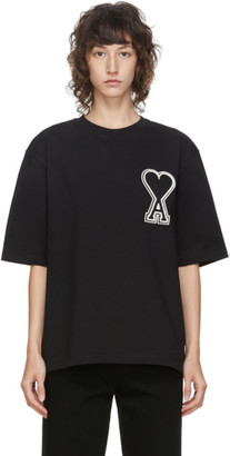 Ami Alexandre Mattiussi Black Oversized Logo Patch T-Shirt