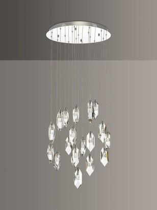 Dar Crystal LED 18 Pendant Cluster Ceiling Light, Clear/Polished Chrome