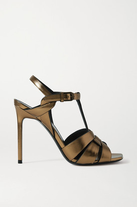 Saint Laurent Catri Woven Metallic Leather Sandals - Gold