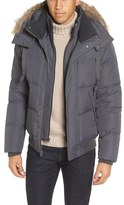 Andrew Marc Rockport Quilted Down & Feather Bomber Jacket with Genuine Coyote Fur Trim