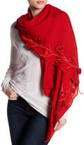 Saachi Angelika 3D Floral Embroidery Wool Scarf