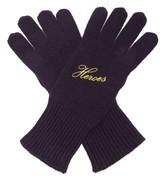Raf Simons Heroes Embroidered Wool-blend Gloves - Womens - Dark Navy