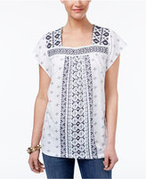 Style&Co. Style & Co Mixed-Print Mesh-Bib Top, Only at Macy's