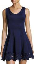 Donna Ricco Sleeveless Lace-Trim Scuba Fit & Flare Dress, Navy