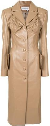 ALEKSANDRE AKHALKATSISHVILI Long Leather Button-Front Coat