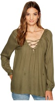 BB Dakota Boothe Rayon Crepe Lace-Up Top Women's Clothing