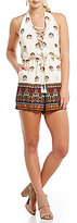 GB Open Back Border Printed Lace Up Halter Romper