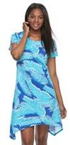 Caribbean Joe Women's Leaf Shark-Bite T-Shirt Dress