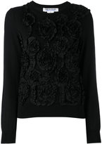 Comme des Garcons floral embroidered knitted top - women - Cotton/Polyester/Wool - S