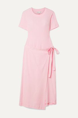 Rosetta Getty Draped Canvas-trimmed Cotton-jersey Tunic - Baby pink