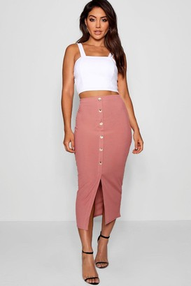 boohoo Ribbed Mock Horn Button Through Midaxi Skirt