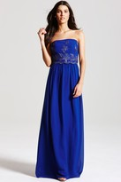 Little Mistress Cobalt Blue Embroidered Maxi Dress