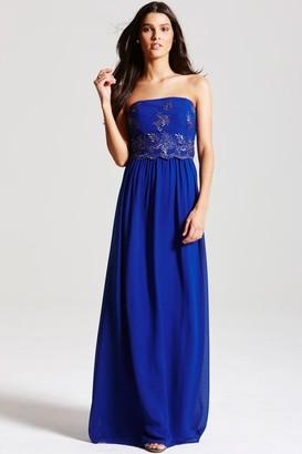Little Mistress Cobalt Blue Embroidered Maxi Dress