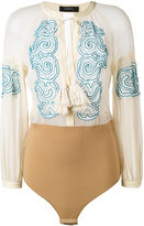Wandering - embroidered boho blouse body - women - Silk/Cotton/Polyamide/Spandex/Elastane - 40