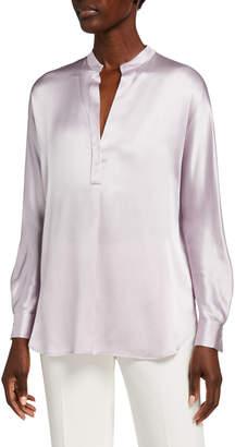 Vince Band-Collar Long-Sleeve Silk Blouse