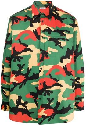 Valentino Oversized Camouflage Print Shirt