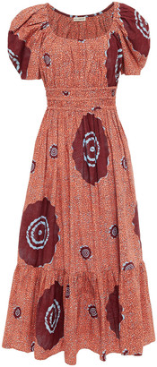Ulla Johnson Gathered Printed Cotton-poplin Midi Dress
