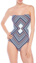 Vince Camuto Contrasting Print Bandeau One-Piece Swimsuit