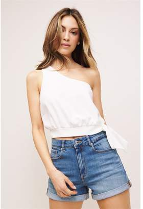 Dynamite One Shoulder Crop Top - FINAL SALE Snow White