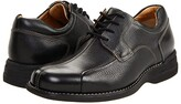 Johnston & Murphy Shuler Causal Dress Bike Toe Oxford (Black Tumbled Grain) Men's Plain Toe Shoes
