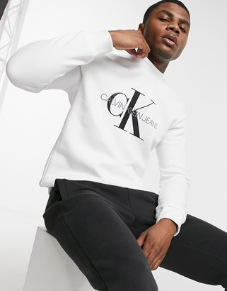 Calvin Klein Jeans monogram logo crew sweater in white