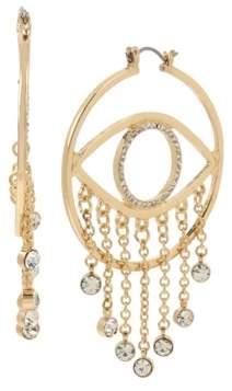 "BCBGeneration Medium Pave Eye Fringe Hoop Earrings 2.4"""