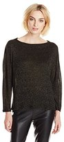 Michael Stars Women's Lurex Sweater Rib 3/4 Sleeve Off Shoulder Dolman