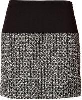 Bouchra Jarrar Wool-Cotton Skirt with Tweed Panel