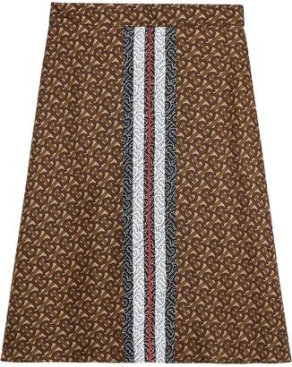 Burberry Monogram Stripe Print Silk Skirt