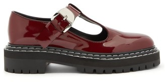 Proenza Schouler Tread-sole T-bar Leather Loafers - Burgundy