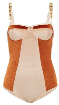 Ami Muse Studio - Beaded Velvet Bodysuit - Brown Multi
