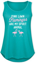 Flamingos Instant Message Plus Women's Tank Tops TEAL - Teal 'Pink Lawn Are My Spirit Animal' Tank - Plus