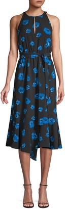 Derek Lam 10 Crosby Belted Rose-Print Midi Dress
