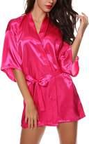 Avidlove Women's Kimono Robe Satin Lounge Bridesmaid Short Style L