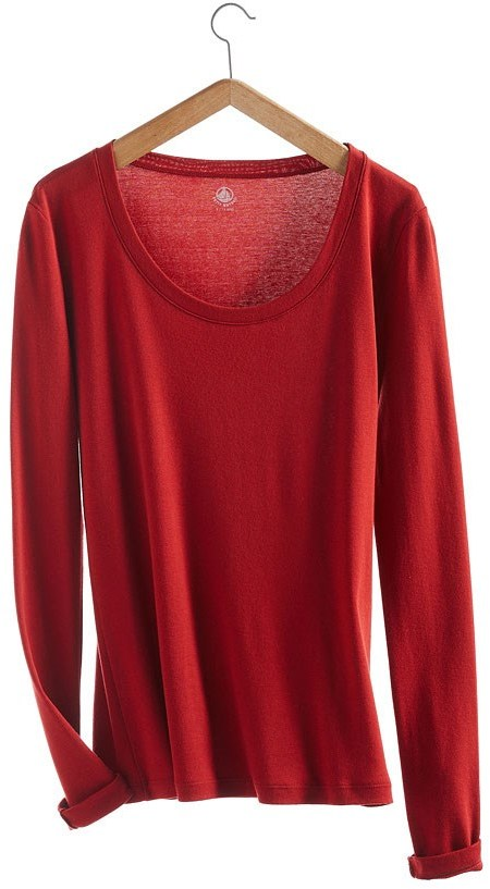Petit Bateau Women's long-sleeved, round neck tee in new cotton
