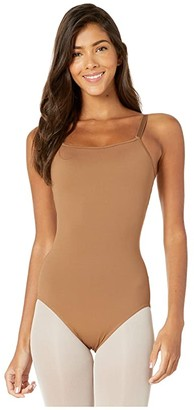 Bloch Nylon Adjustable Strap Leotard with Bra (Almond) Women's Jumpsuit & Rompers One Piece