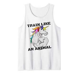 Vintage Train Like An Animal Unicorn Weightlifting Fitness Tank Top
