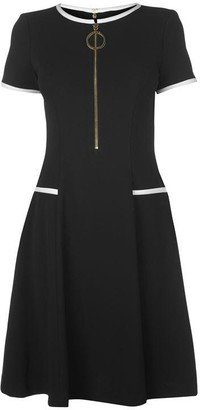 DKNY Occasion Occasion Cap Sleeve Front Zip Dress Womens