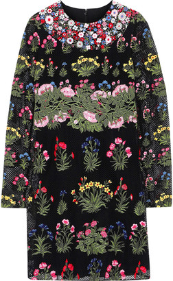 Valentino Floral-appliqued Cotton-blend Guipure Lace Mini Dress